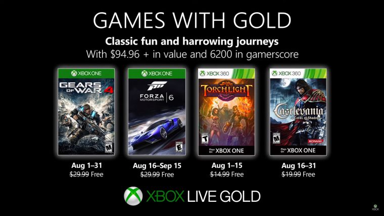 Xbox | Games with Gold de agosto terá Gears of War 4 e Forza Motorsport 6